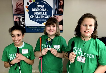 3 young girls at the Iowa Regional Braille Challenge