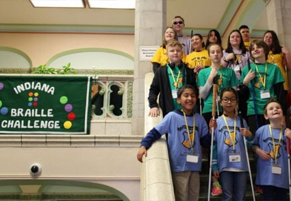 Group of students at the Indiana Regional Braille Challenge