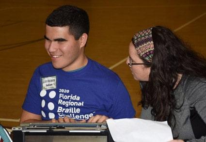 Boy student at 2020 Florida Regional Braille Challenge