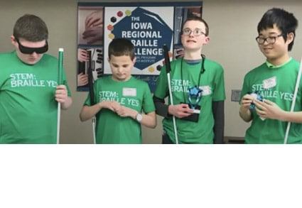 Four boys at the Iowa Regional Braille Challenge