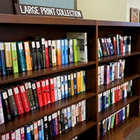 Shelf of library books