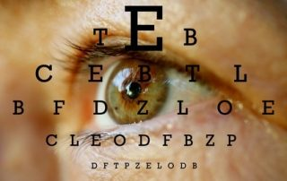 Close of an eye overlayed with an eye test chart