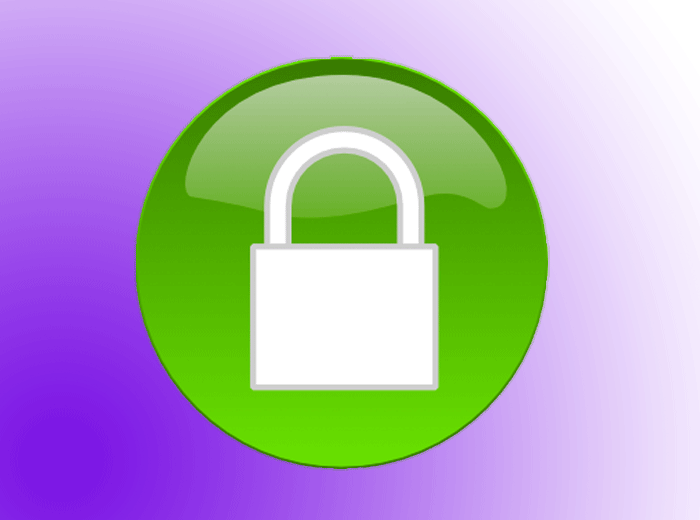A graphic of a green circle with a lock icon