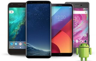 Four Android phones side by side