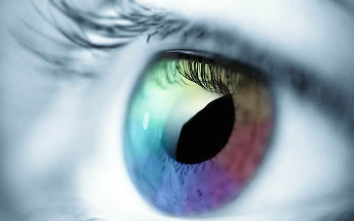 Close-up of a rainbow-colored eye