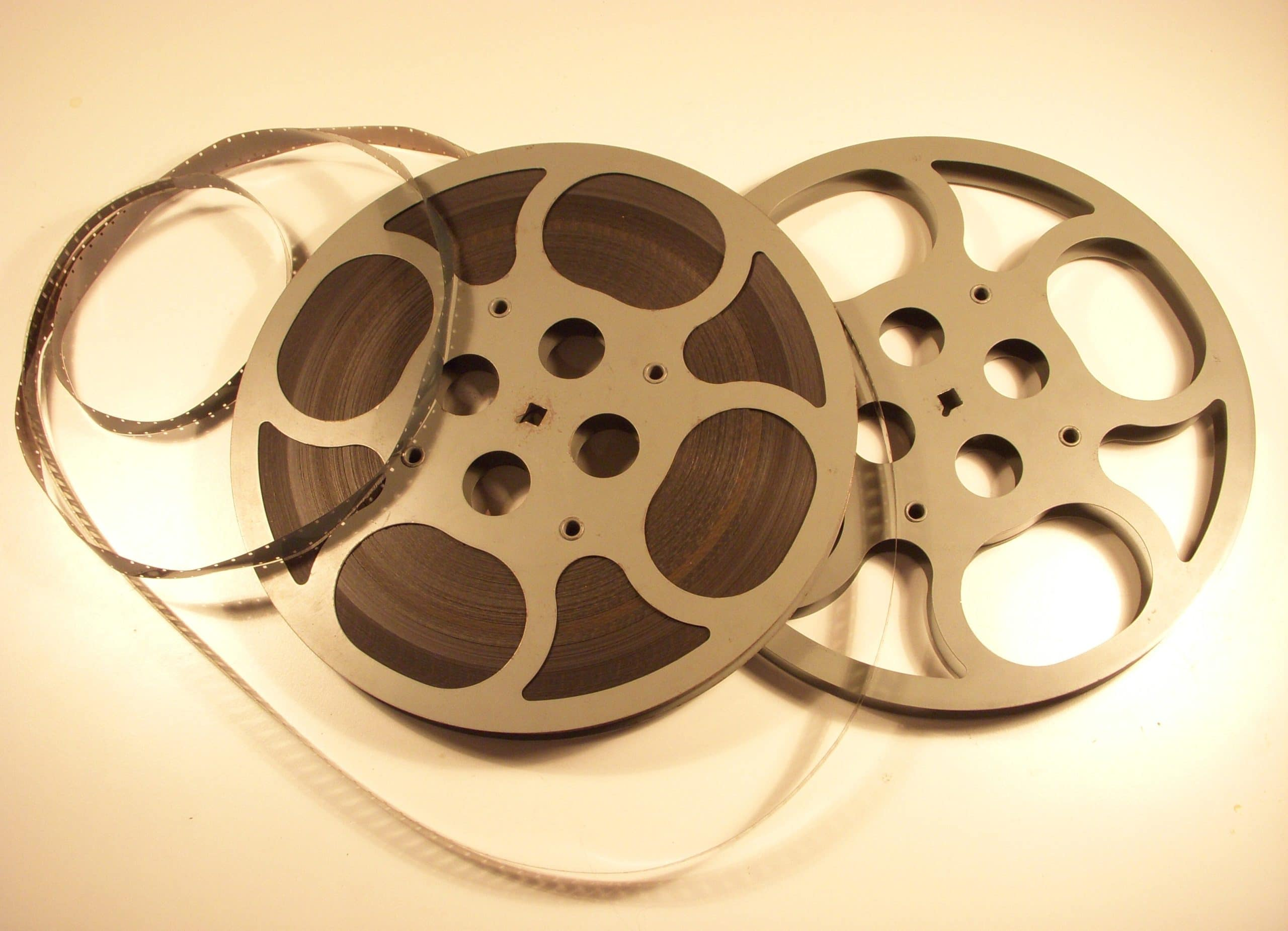 16 mm film reels artistically stacked