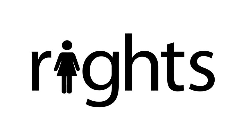 """The word """"rights"""" with the letter """"i"""" replaced by an icon of a woman"""