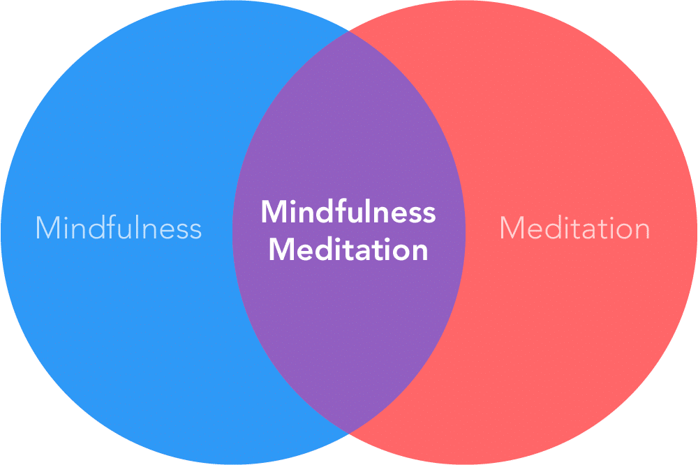 """Two overlapping circles in blue, purple and red with the words """"Mindfulness"""", and """"Meditation"""""""