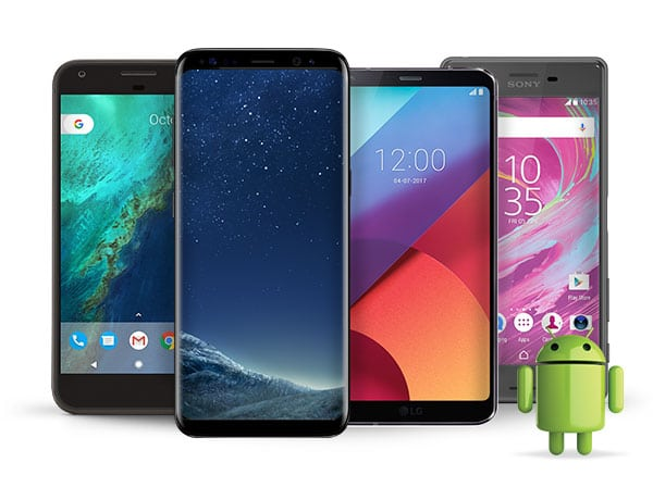Four Android smartphones side by side