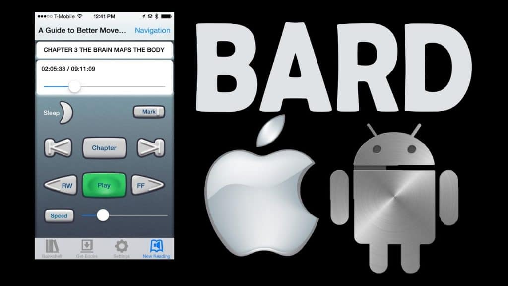 "A screenshot of the BARD app, alongside the word ""BARD"" and the Apple and Android logos"