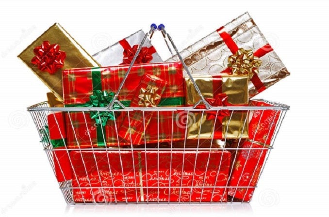 A shopping basket filled with wrapped gift boxes
