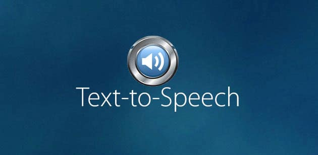 """A graphic with a audio speaker icon and the words """"Text to Speech"""""""