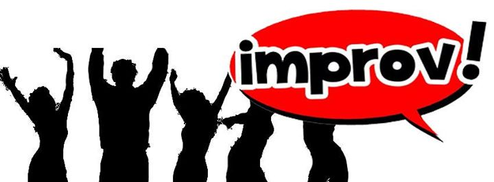 "Graphic with silhouettes of five people and the word ""Improv!"""