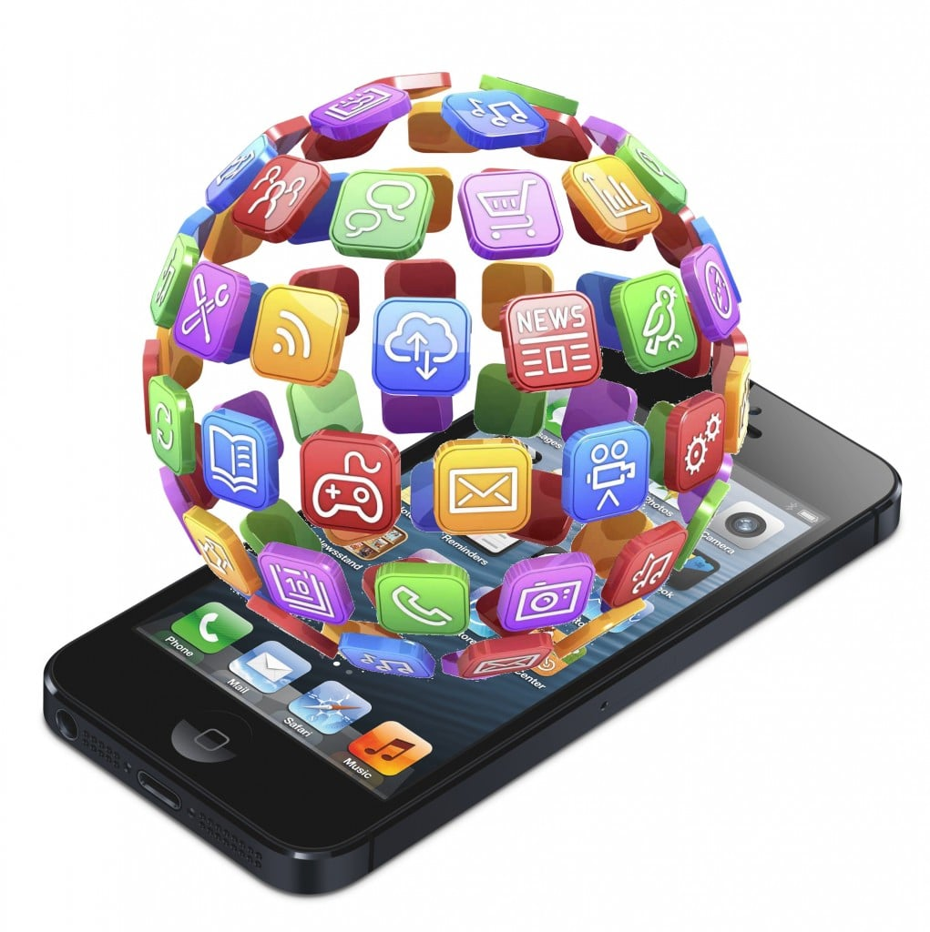 A graphic with a globe made of different app icons on top of a smartphone