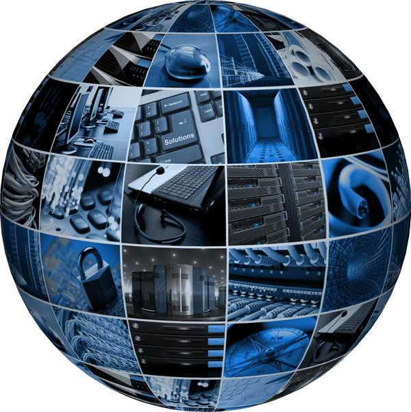 A graphic of a globe consisting of pictures of tech related things such as keyboards, monitors, computer servers, etc