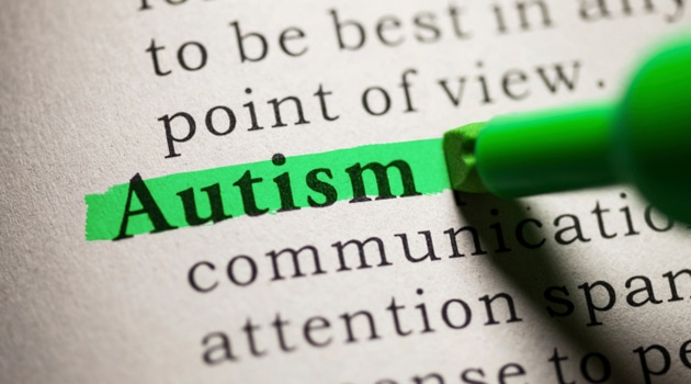 """An image of a paragraph of words with the word """"Autism"""" highlighted"""
