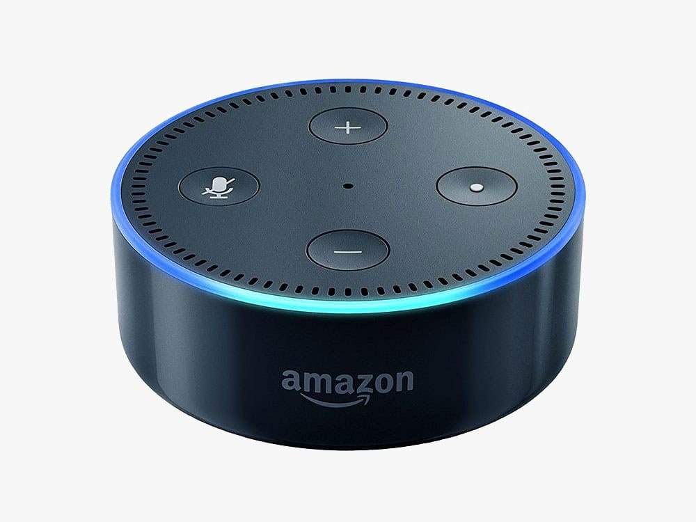 Image of the Amazon Echo Dot speaker and voice assistant