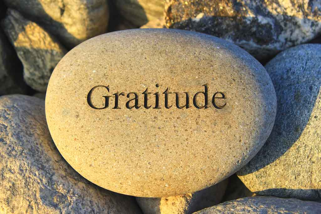 A rock with the word gratitude engraved on it.