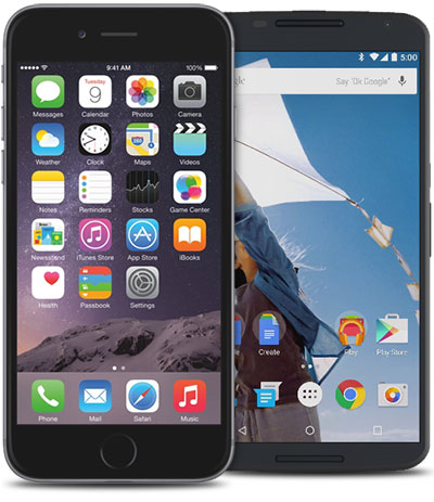Image of an iPhone and Android phone side by side