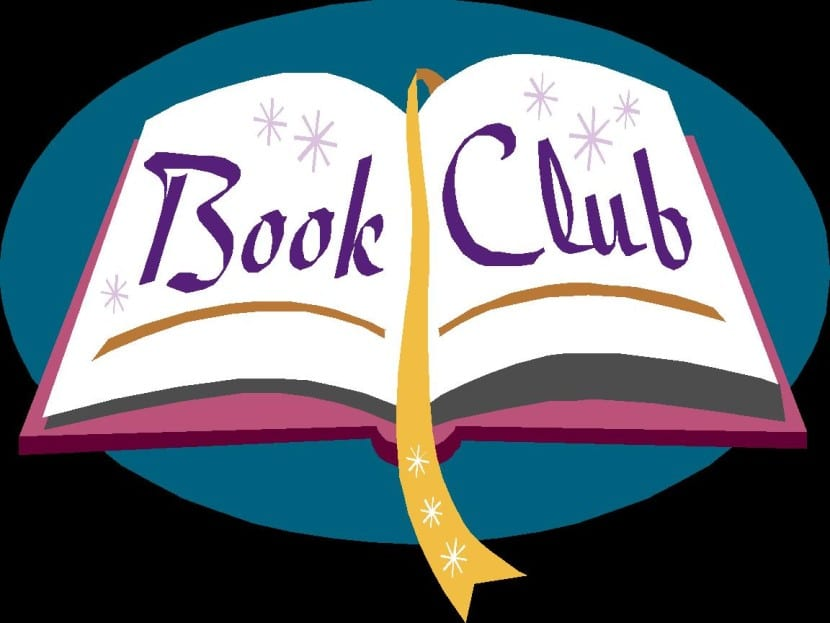 "A graphic of an open book with the words ""Book Club"""