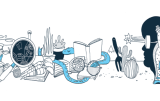 Decorative header illlustration with silhouette of person, books, eyeglasses, cactus, laptop, magnifier, teapot, and smartphones.