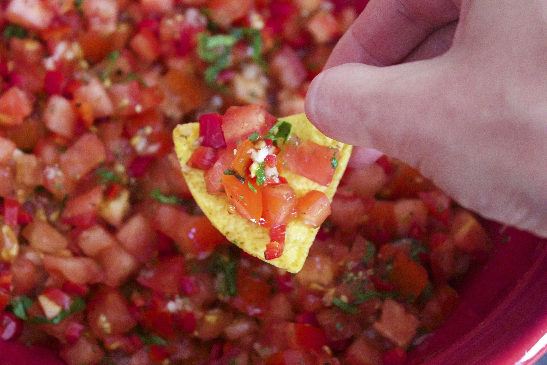 Hand holding chip covered in fresh salsa