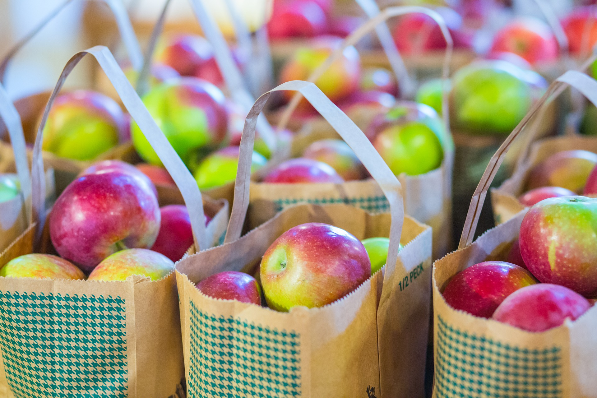 Multiple rows of bags of red and green apples.