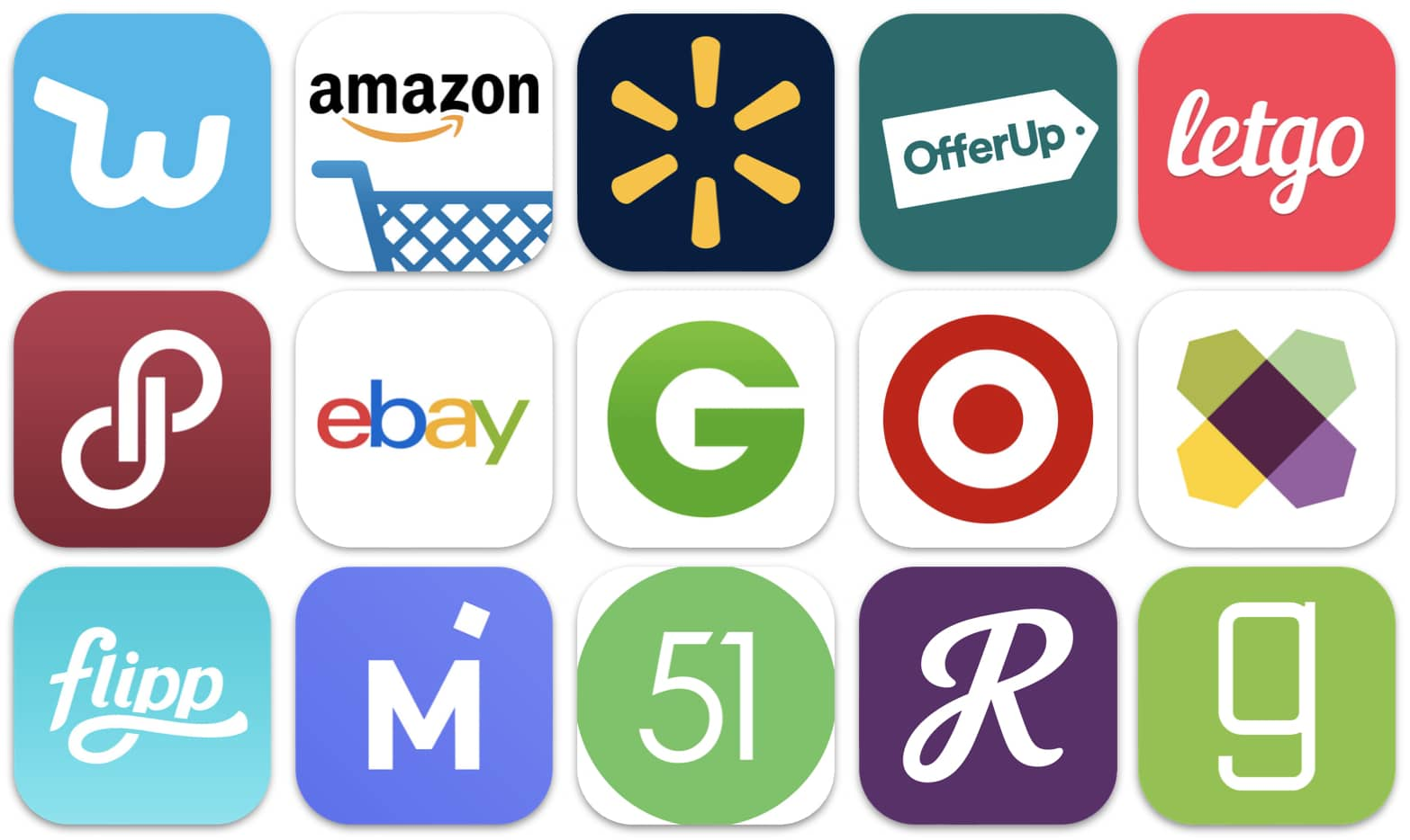 Image has app icons for different shopping sites.