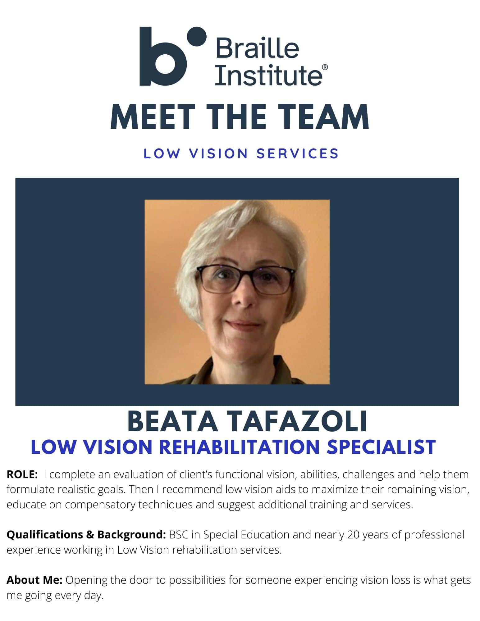 Photo of Braille Institute Low Vision team member Beata Tafazoli