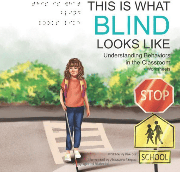 Book cover of young girl crossing the street with her cane