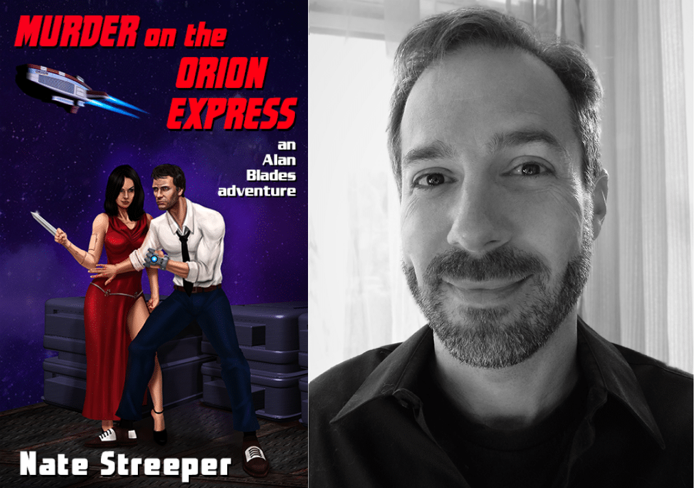 Book cover of Murder on the Orion Express and a black and white photo of author