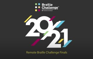 Braille Challenge Logo and graphic for the 2021 Remote Braille Challenge Finals