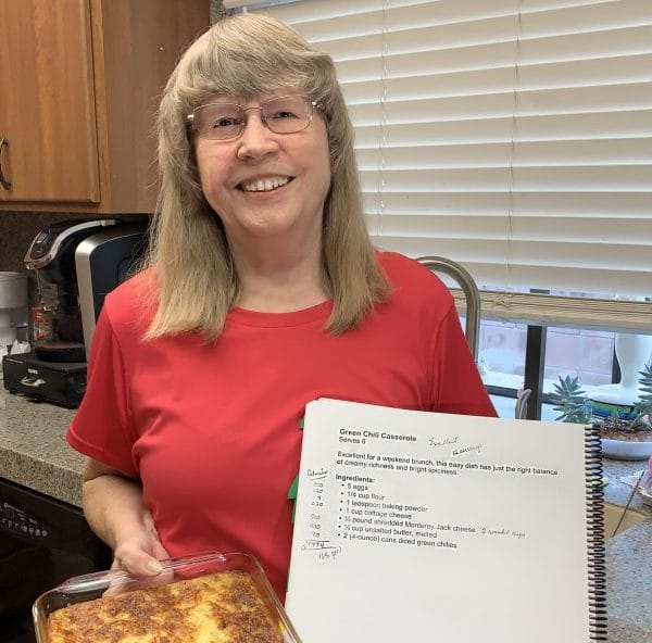 Longtime student and financial support of Braille Institute, Joy R. and her green chili casserole